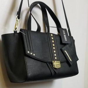 Steve Madden// Black satchel with gold hardware